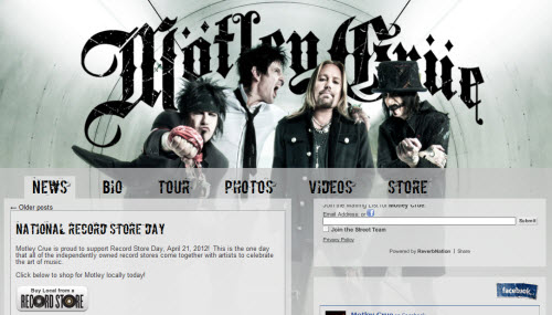 The Website of Motley Crue is run using WordPress software