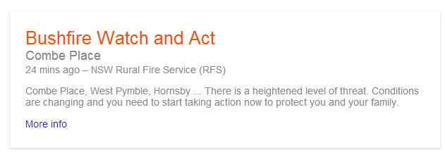 Google provides Bushfire alerts for AUstralia