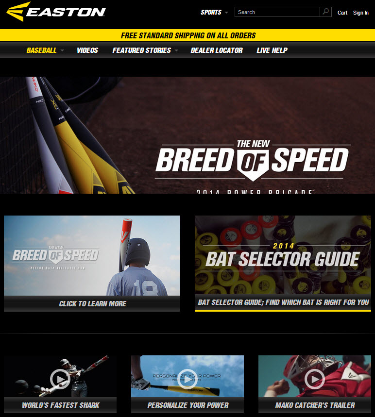 Responsive website for Easton sports