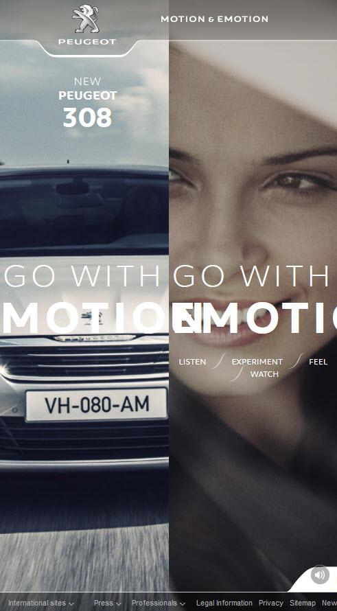 Responsive website for Peugeot cars