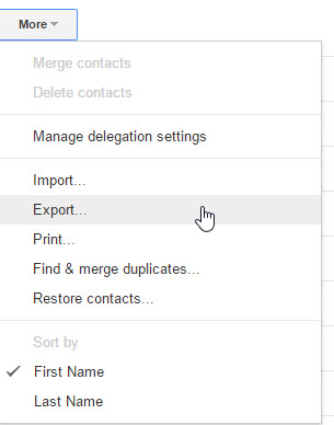 Follow these steps to export your Gmail contacts