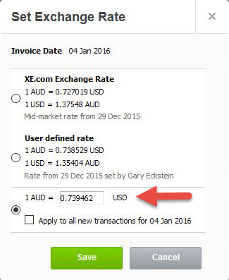 Learn how to convert US$ to AU$ using the correct exchange rate in Xero