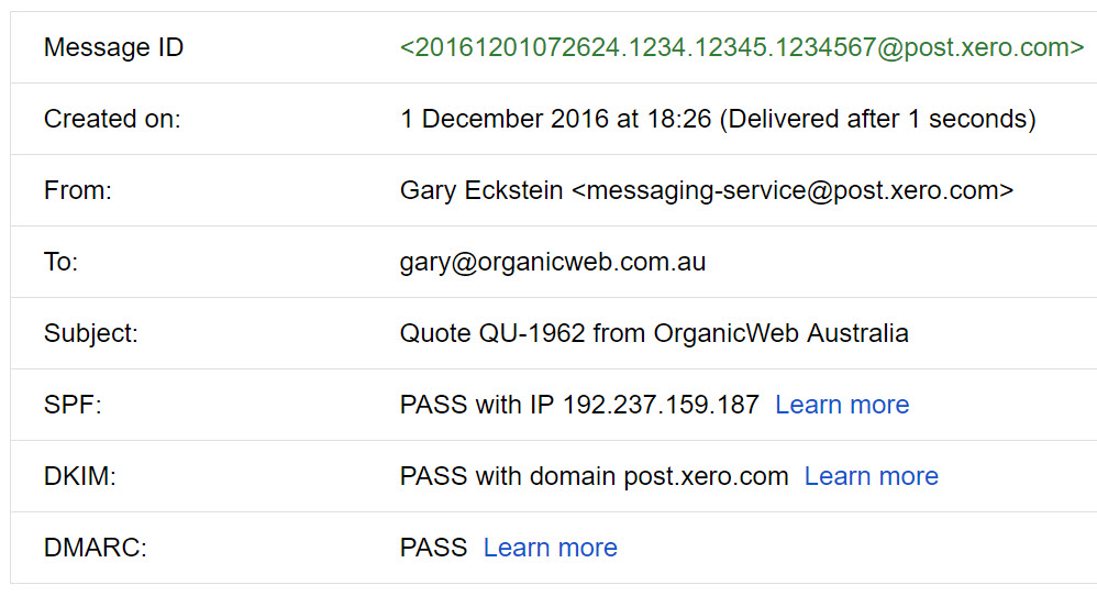 Report showing how Xero emails pass SPF and DKIM