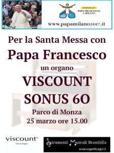 Un organo VISCOUNT SONUS 60 per Papa Francesco al Parco di Monza