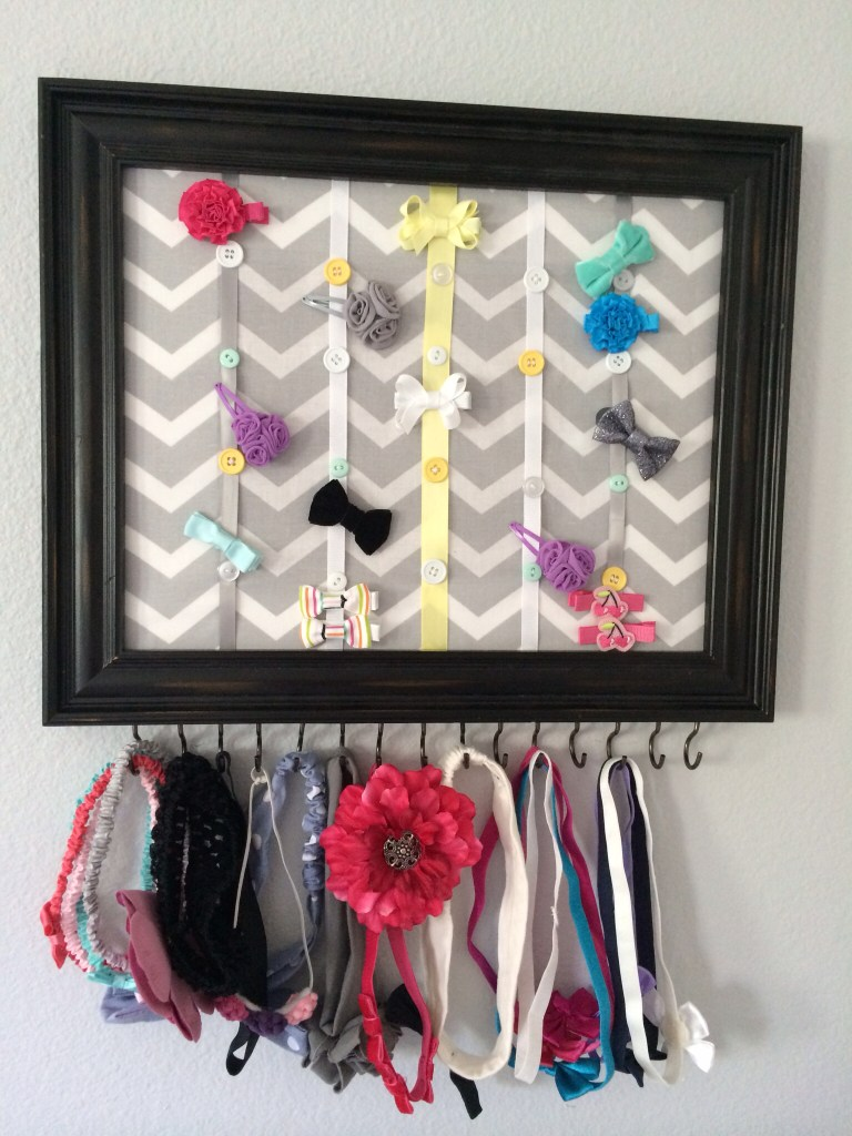 organise girls' hair accessories with diy picture frame