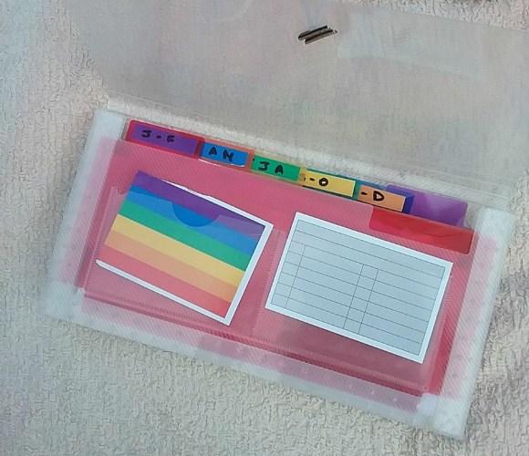 organise receipts in a plastic wallet