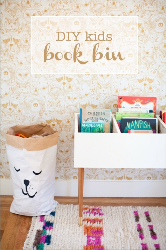children's book storage ideas DIY book bin