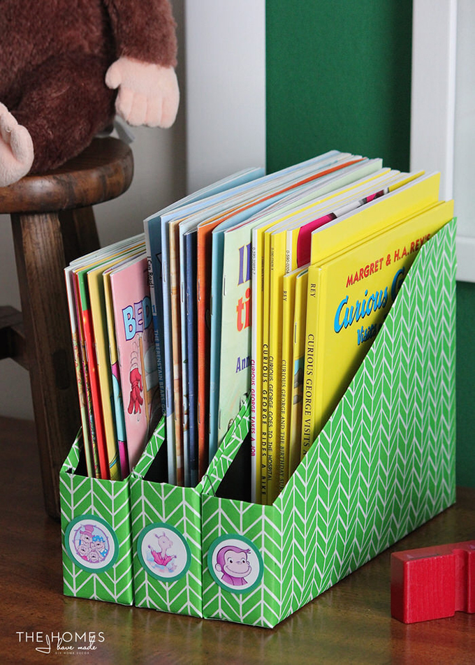 store children's books in cereal boxes turned magazine files