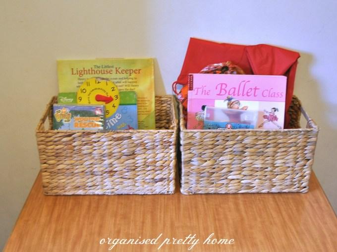 children's book storage ideas in baskets