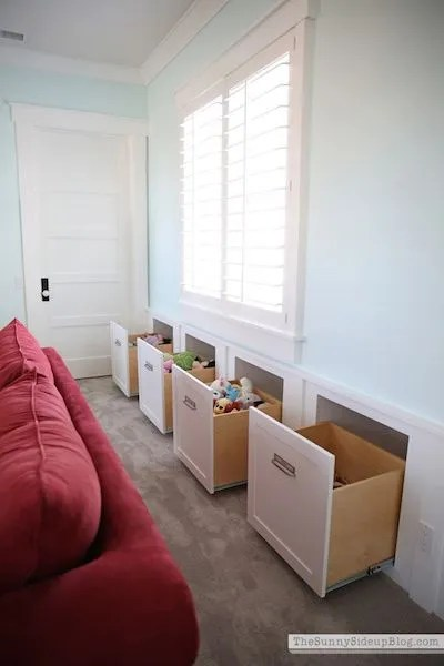 toy storage in the living room