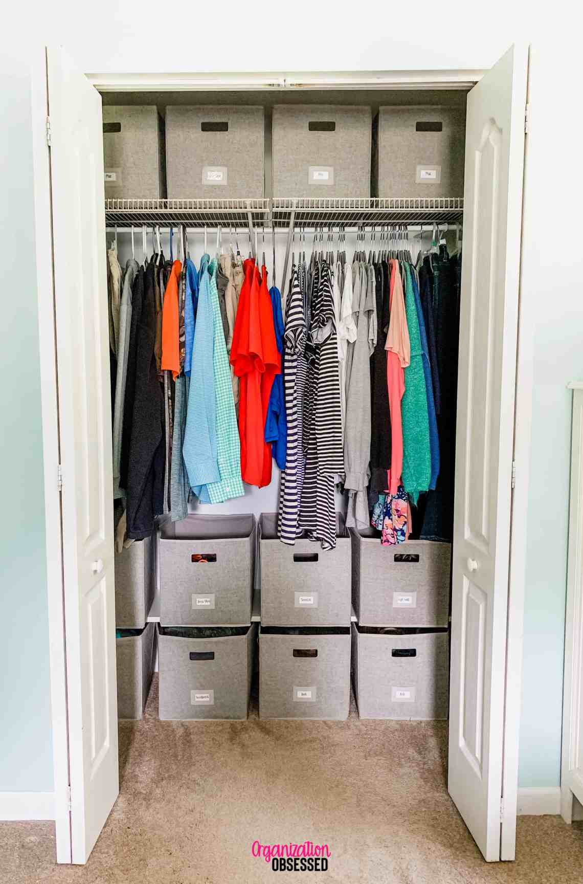 Organizing a Small Bedroom Closet - Organization Obsessed