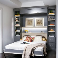 Murphy Bed In Small Living Room With Grey Sofa How A Wall Improved Valerie S Condo Creates An Instant Guest