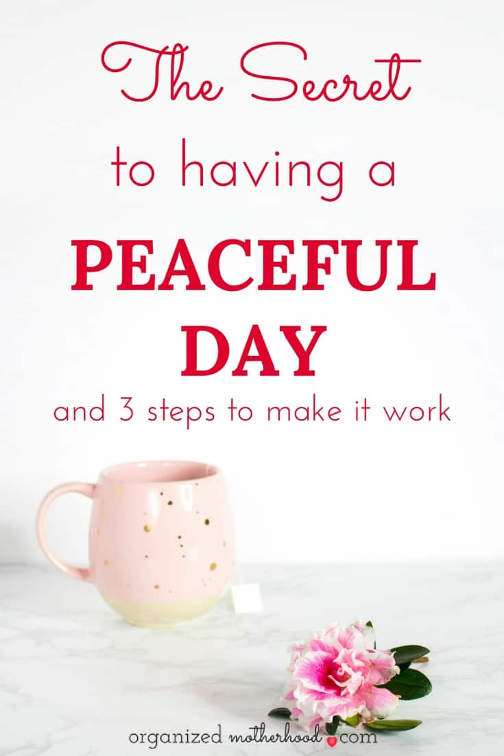 Think peaceful days are a thing of the past? Organized moms know this secret to have an organized day. These three tips have helped me stay productive and focused, even on my most stressful days.