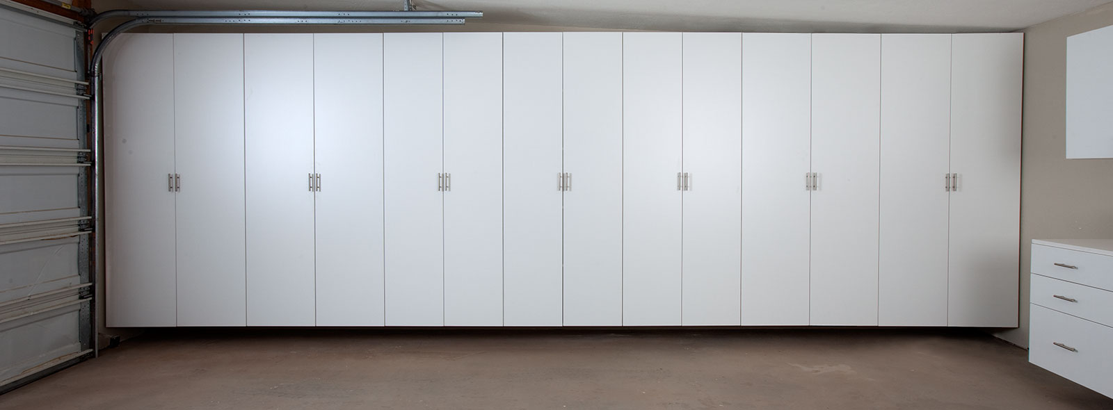 Matte Garage Cabinets  Silver Finish  White Finish