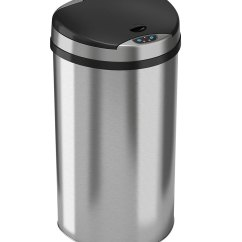 Stainless Steel Kitchen Trash Cans Island Wood 13 Gallon Semi Round Can In