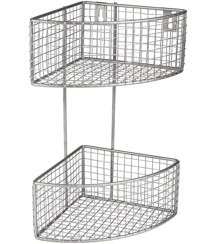 2-Tier Corner Baskets in Wire Baskets