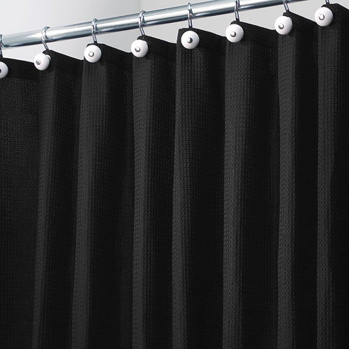 York Fabric Shower Curtain  Black in Shower Curtains and Rings