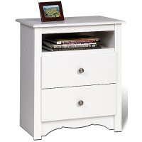 Monterey Tall Two-Drawer Night Stand - White in Nightstands
