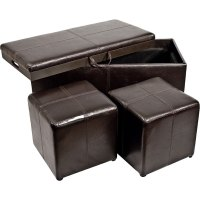 3-Piece Storage Ottoman and Cube Set in Ottomans