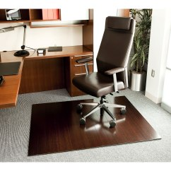 Rolling Chair Mat For Wood Floors Banquet Half Covers Dark Cherry Bamboo Roll Up Office Mats With 4 Inch