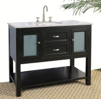 42 Inch Bathroom Vanity with Glass Cabinet in Bathroom
