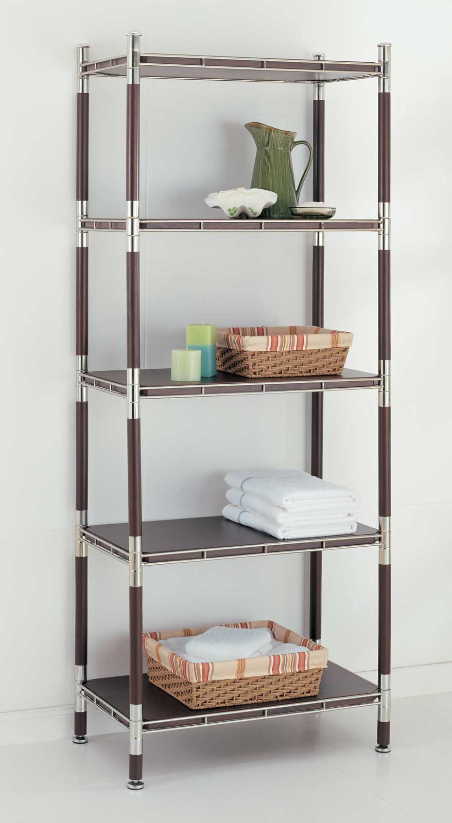 5Tier Wood and Chrome Shelving Unit in Bathroom Shelves