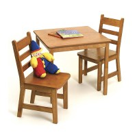 Childrens Wooden Table and Chairs - Pecan in Kids Furniture