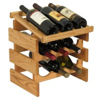 Wood Wine Rack - 9 Bottle Display in Wine Racks