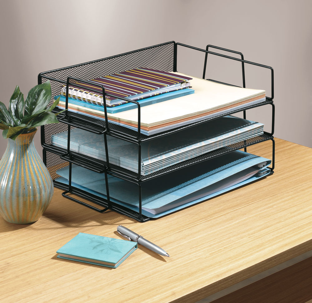 Black Mesh Stackable Paper Tray in Paper Trays