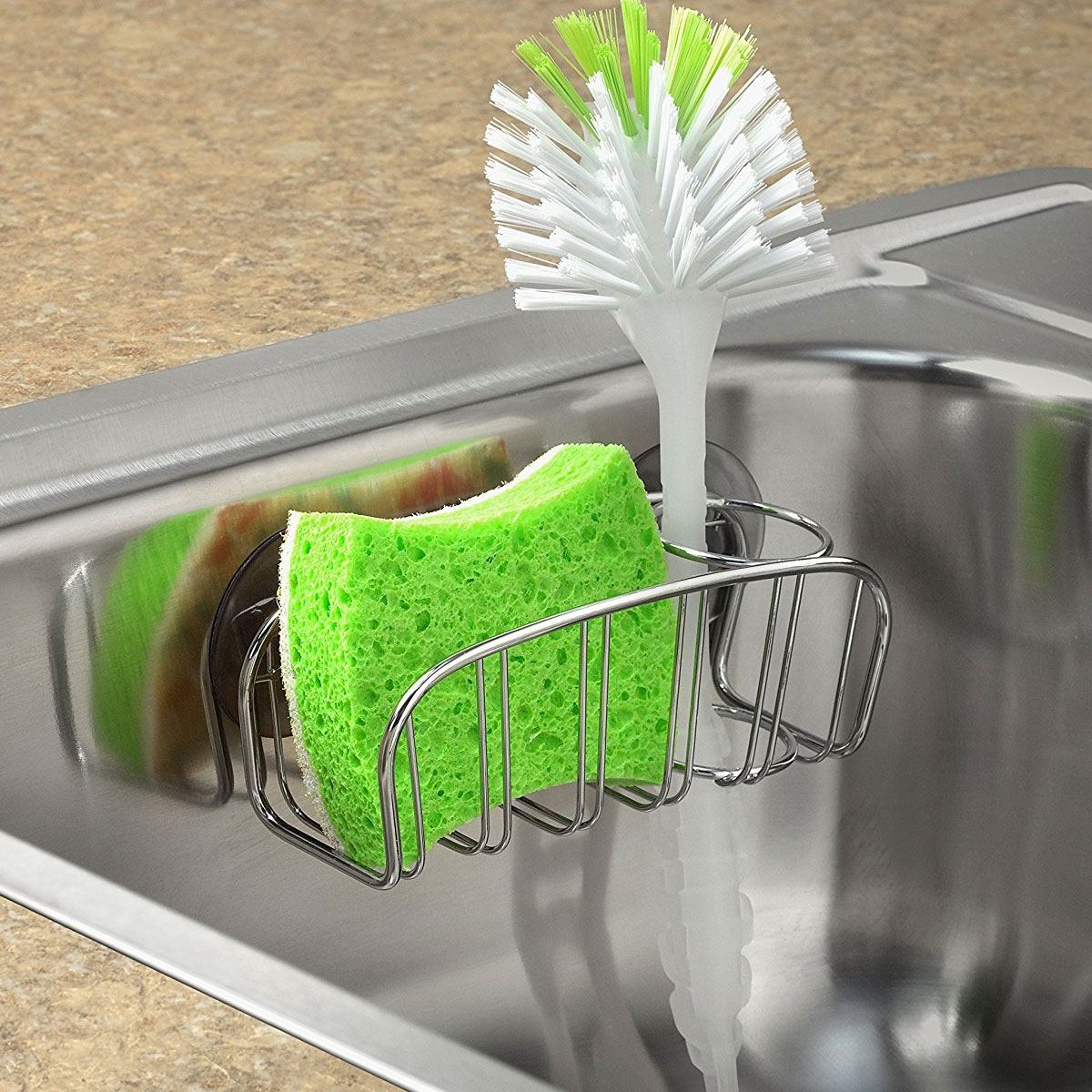 large kitchen sink dimensions remodel houston dish brush holder - chrome in organizers