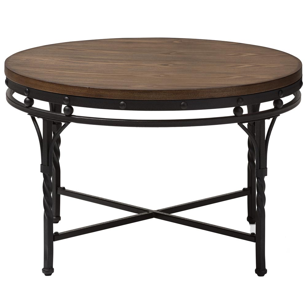 Industrial Round Coffee Table in Coffee Tables