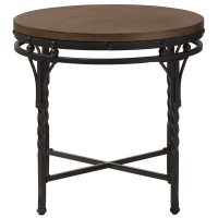 Industrial Round End Table in Side Tables