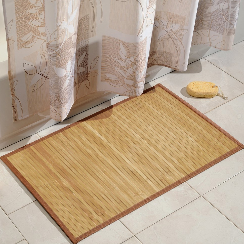 interdesign bamboo bathroom mat - natural in shower and bath mats