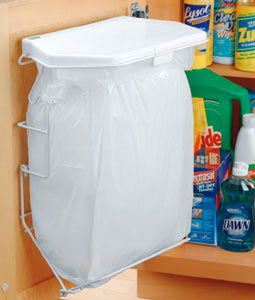door mounted kitchen garbage can with lid home depot faucets delta rack sack trash system in cabinet cans
