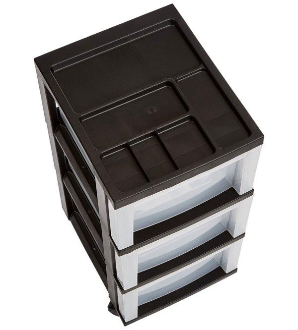 Black 3 Drawer Storage