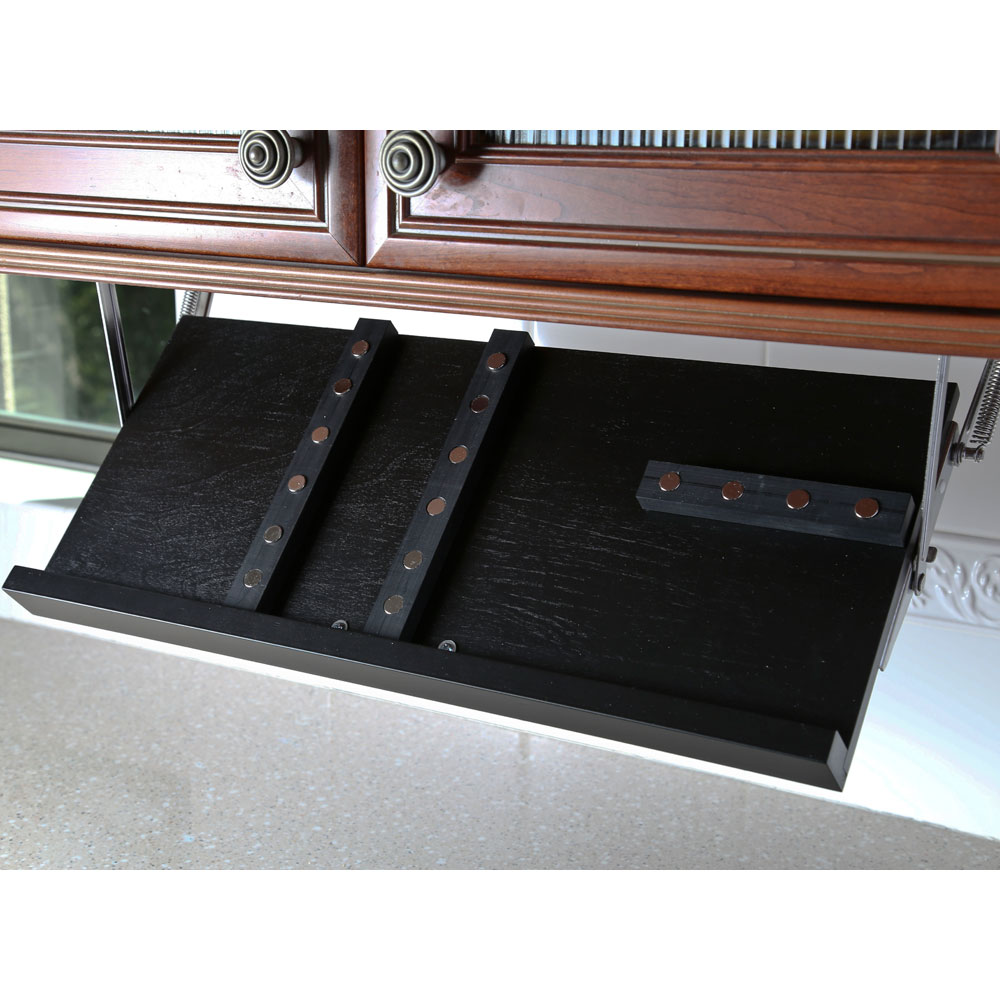 black kitchen storage cabinet formica countertops cost under knife block - in