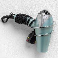 Wall Mount Hair Dryer Holder - Chrome in Hair Dryer Holders