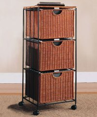 Three-Drawer Rolling Wicker File Tower in File Cabinets