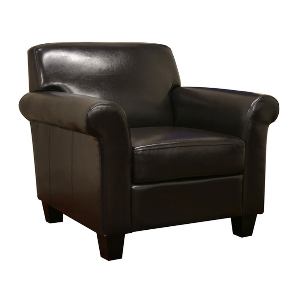 Faux Leather Modern Club Chair in Leather Chairs