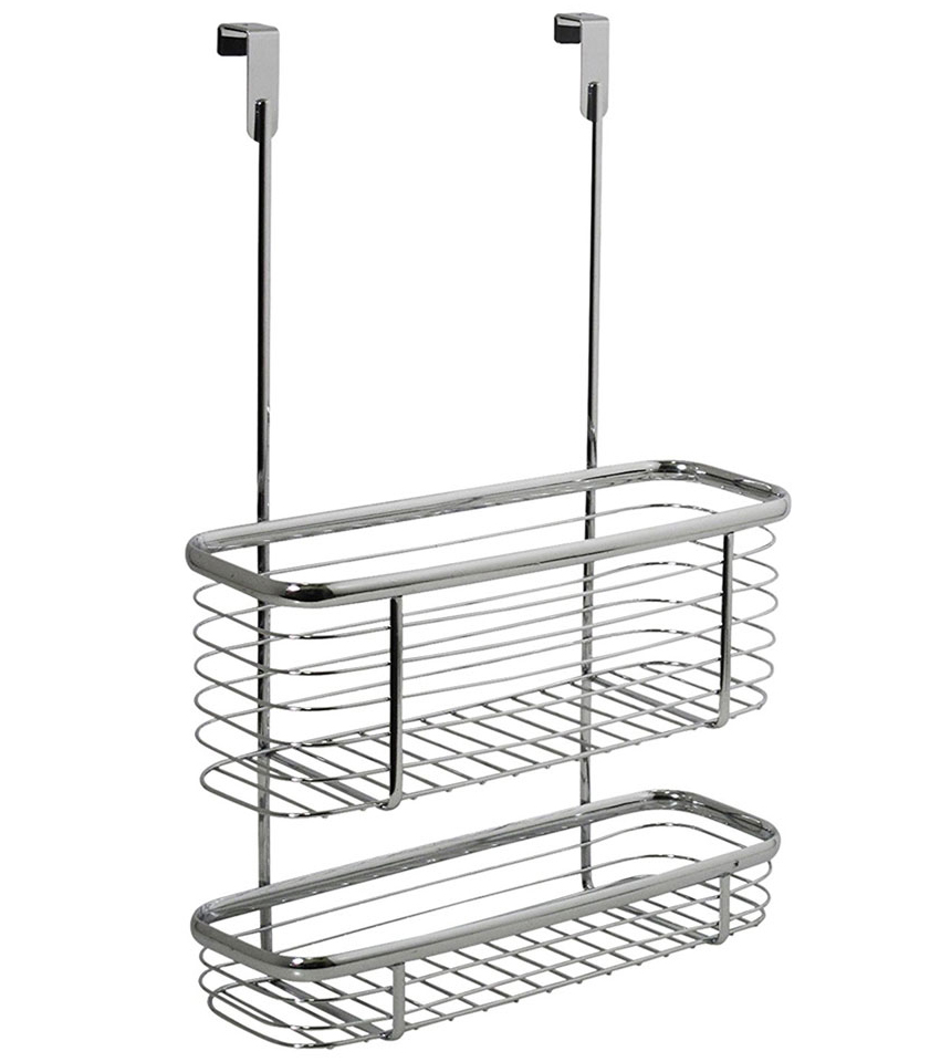 Axis Chrome Over Cabinet Storage Basket and Tray in