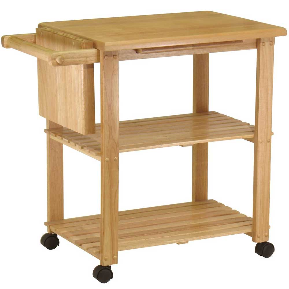 folding kitchen cart utensils store light oak utility beechwood