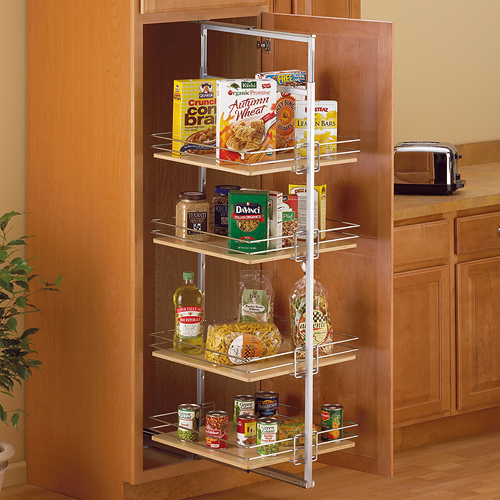 Center Mount Pantry RollOut System  Nickel in Pull Out