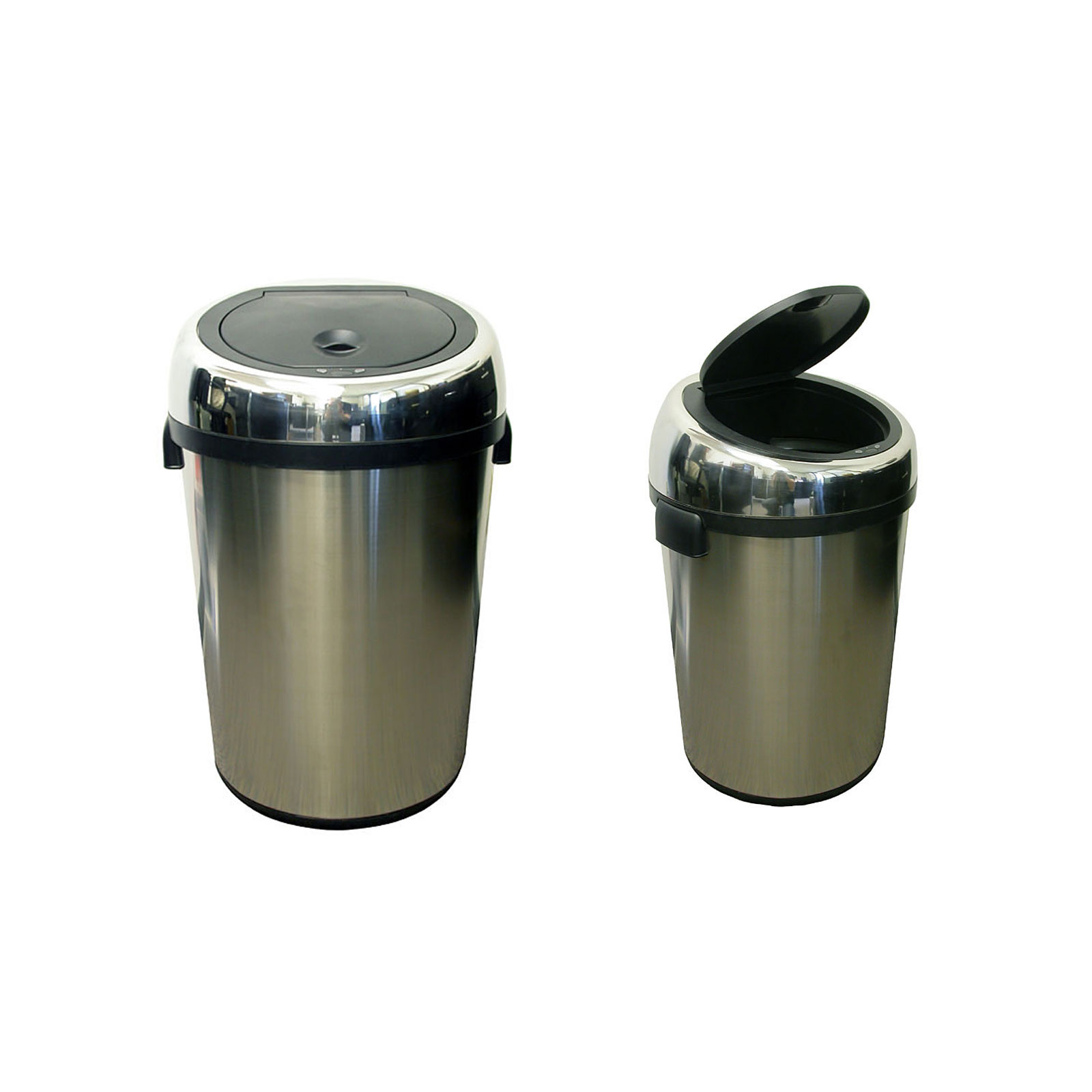 kitchen trash can dimensions hgtv cabinets commercial size stainless steel automatic by