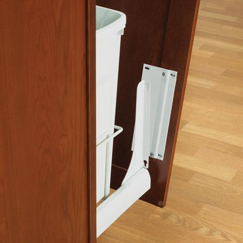 kitchen garbage cans modern sinks slide-out door brackets - white in cabinet trash