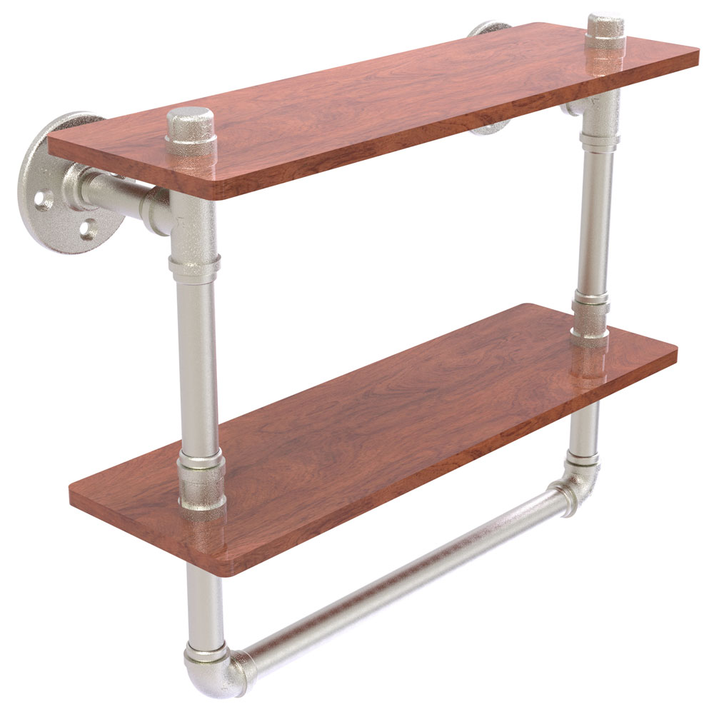 16 Inch Double Shelf with Towel Bar in Bathroom Shelves
