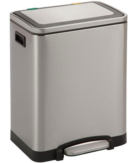 kitchen stainless steel trash can orange towels dual and recycling bin in bins