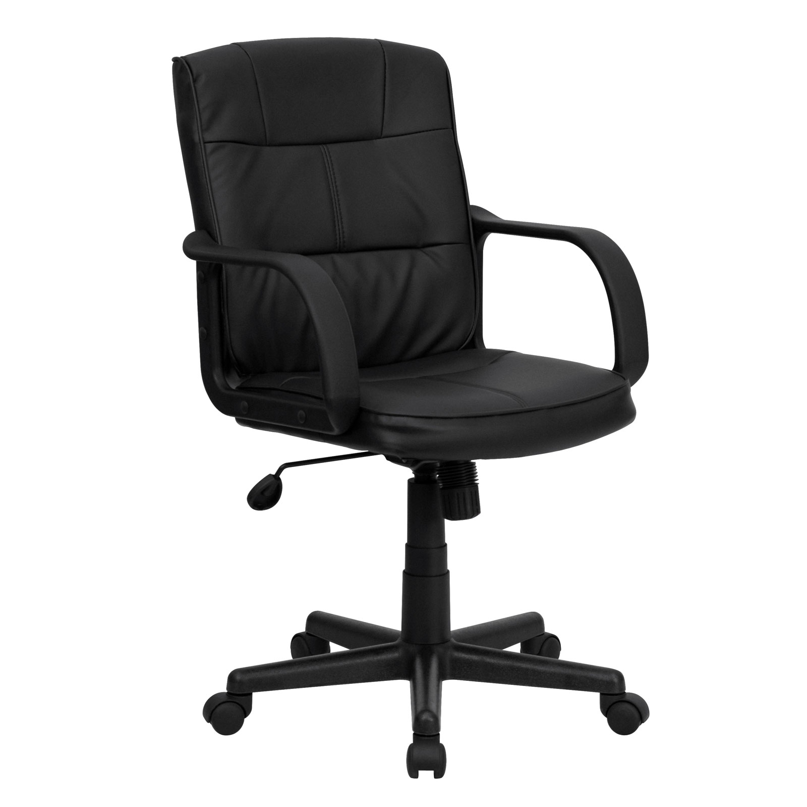 swivel chair not staying up papasan frame world market bonded leather mid back office black in chairs