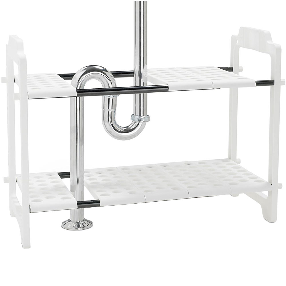 expandable under sink storage shelf in