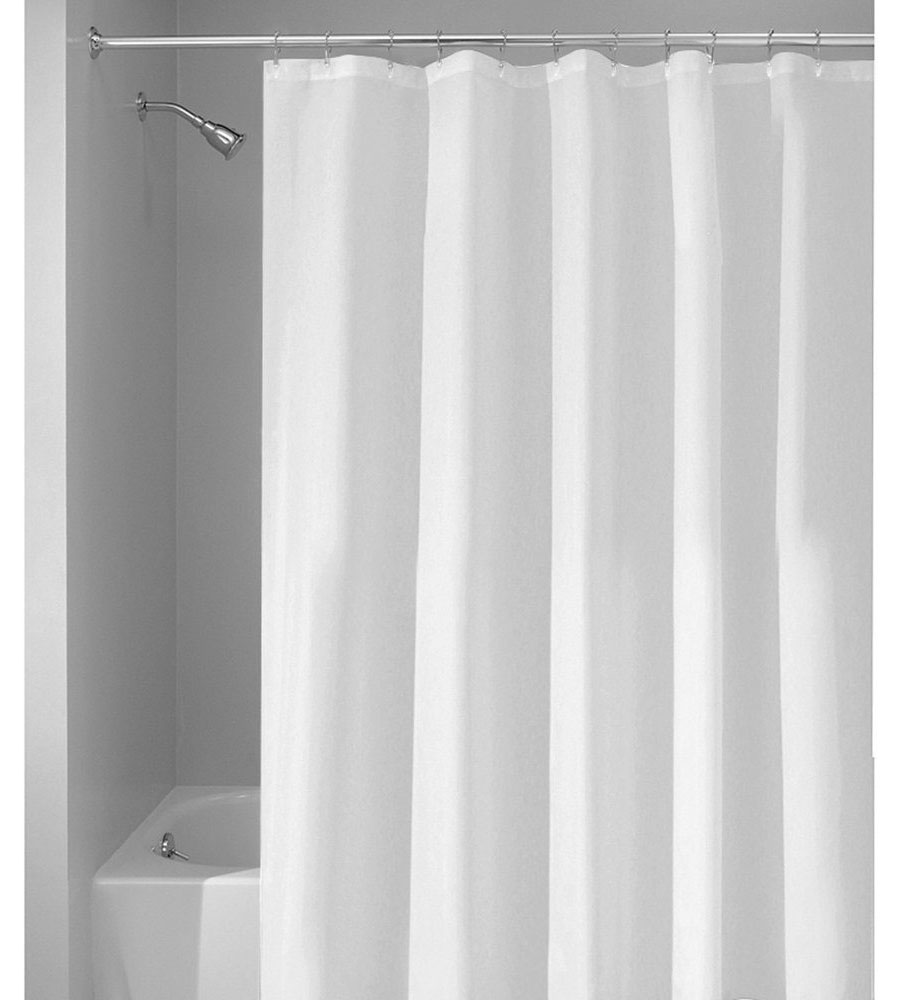 extra wide shower curtain in shower