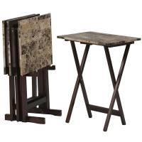Faux Marble Tray Table Set by Linon (Set of 4) in TV Tray ...